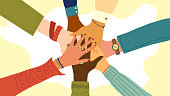Hands of diverse group of people putting together. Concept of teamwork, cooperation, unity, togetherness, partnership, agreement, social community or movement. Flat style. Vector illustration.