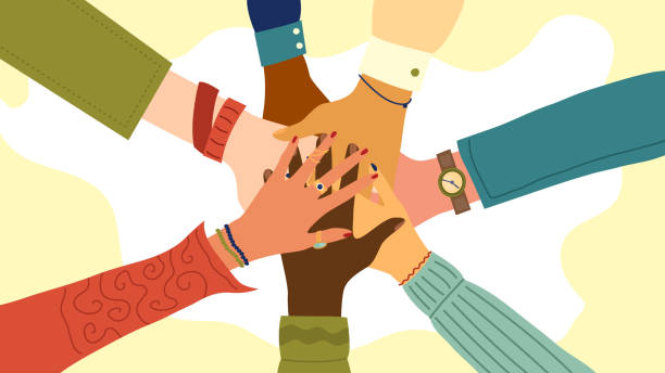 ilustrações de stock, clip art, desenhos animados e ícones de hands of diverse group of people putting together. concept of teamwork, cooperation, unity, togetherness, partnership, agreement, social community or movement. flat style. vector illustration - unidade