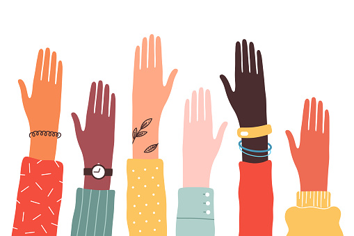 Hands of diverse group of people together raised up. Concept of support and cooperation, girl power, social community. Vector illustration