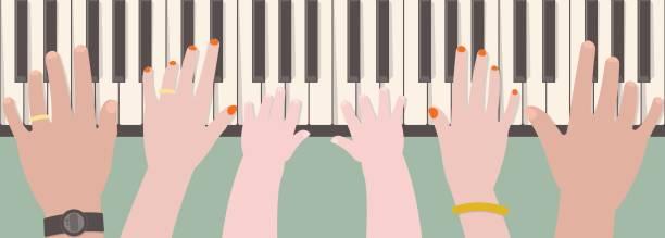 illustrazioni stock, clip art, cartoni animati e icone di tendenza di hands of family members playing piano - mano donna dita unite