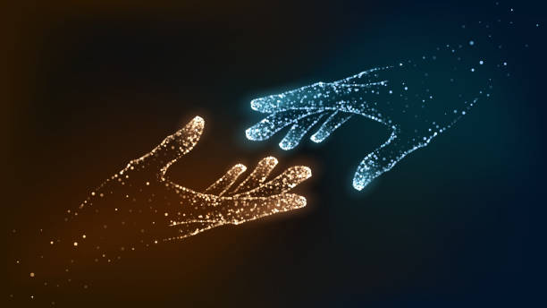 Hands of glowing blue particles Two hands of glowing particles, orange and blue, help, support god stock illustrations