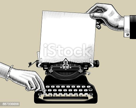 istock Hands of man and woman with old typewriter 887336656