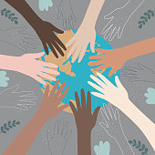 hands of people with different colors of skin, holding the planet Earth. concept of protection of peace and life, equality of race and tolerance. Intercultural relations and political commutation