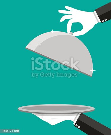 Hands of waiter holding empty silver cloche. Vector illustration in flat style