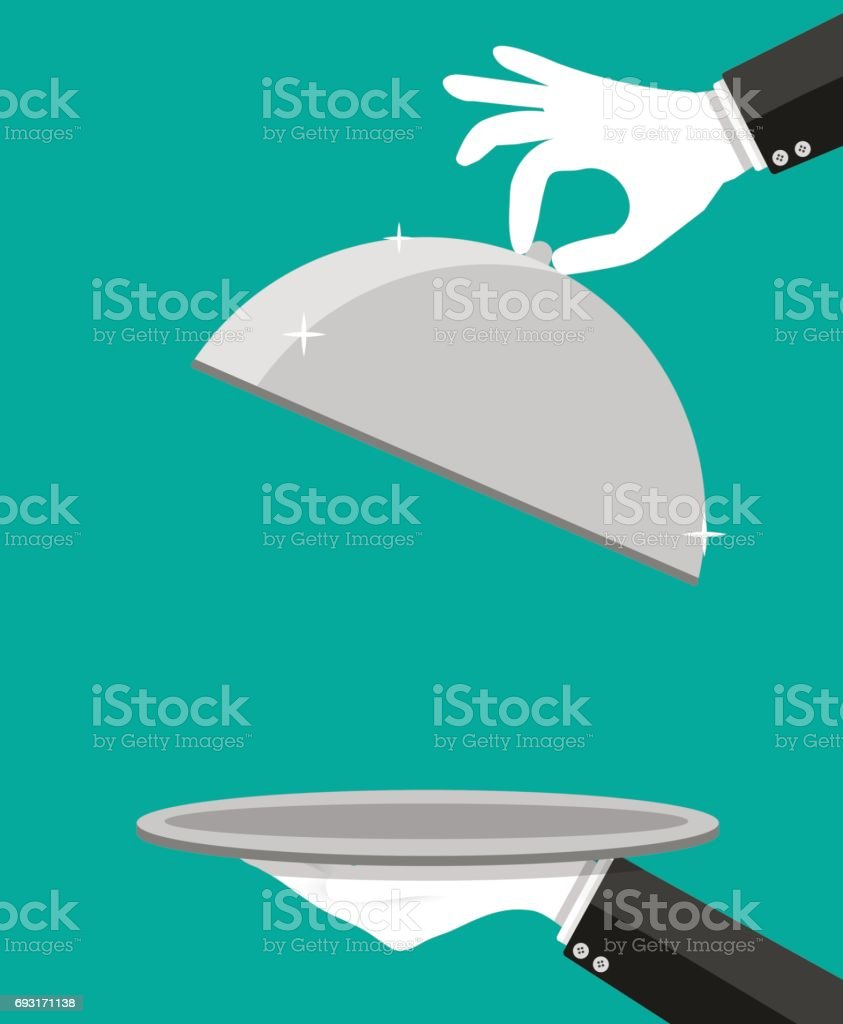 Hands of waiter holding empty silver cloche. vector art illustration