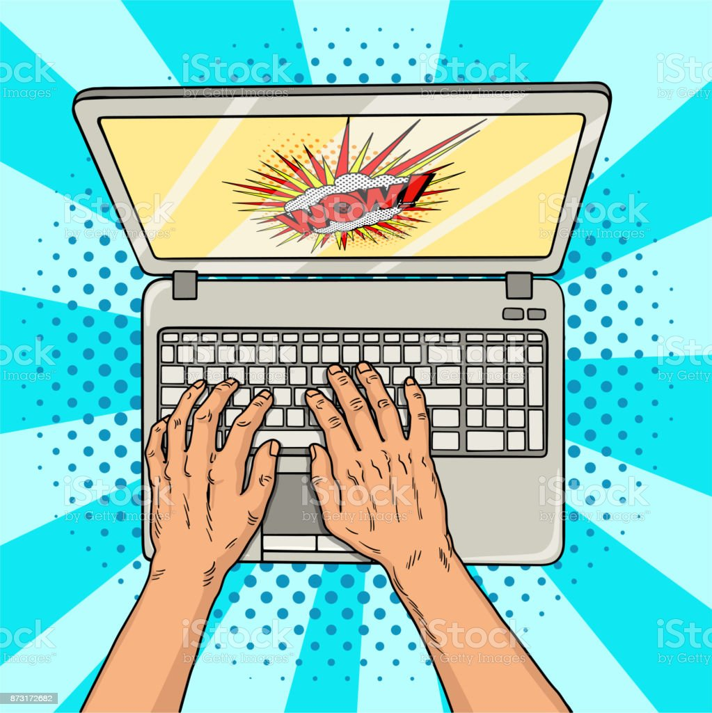 Hands On Laptop Comic Style Office Worker Or Freelancer At