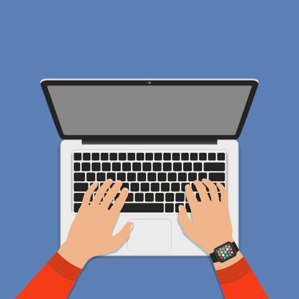 Hände auf Laptop-Tastatur mit leeren Bildschirm Monitor. Flachen Stil. – Vektorgrafik