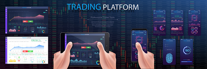 Hands on tablet , Investor analyzing stock market investments with financial dashboard, business intelligence, and key performance indicators on smartphone and computer screens