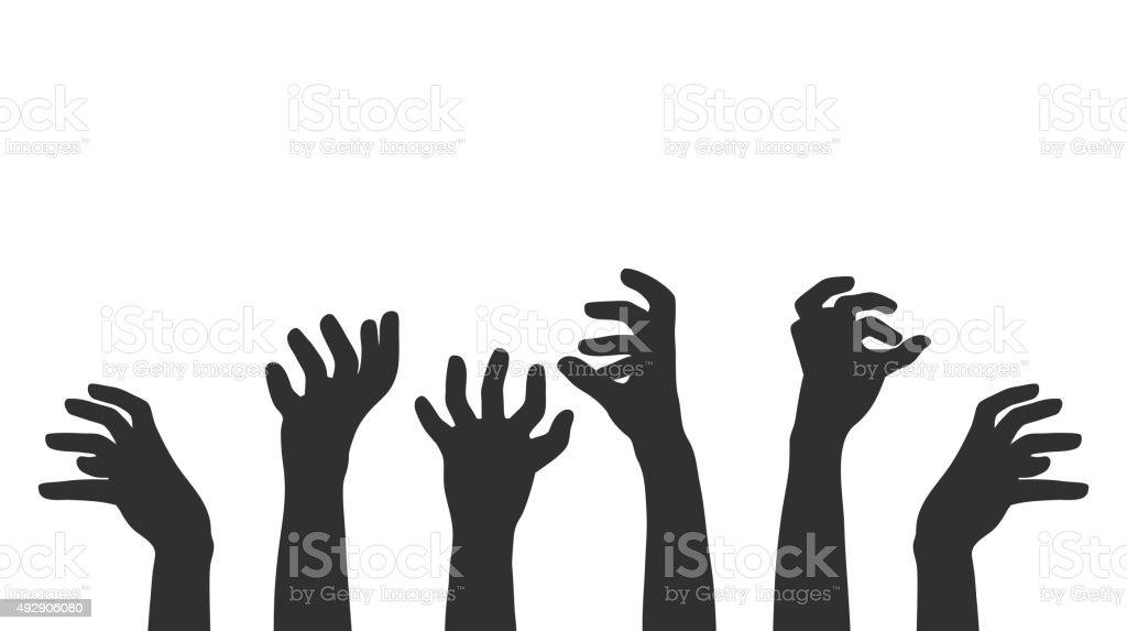 Hands on white background, zombie theme. vector art illustration