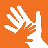 Vector illustration of a small orange hand over white large hand in an orange square.