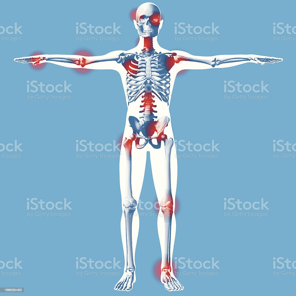 Hands outstretched - Front X-ray View royalty-free stock vector art