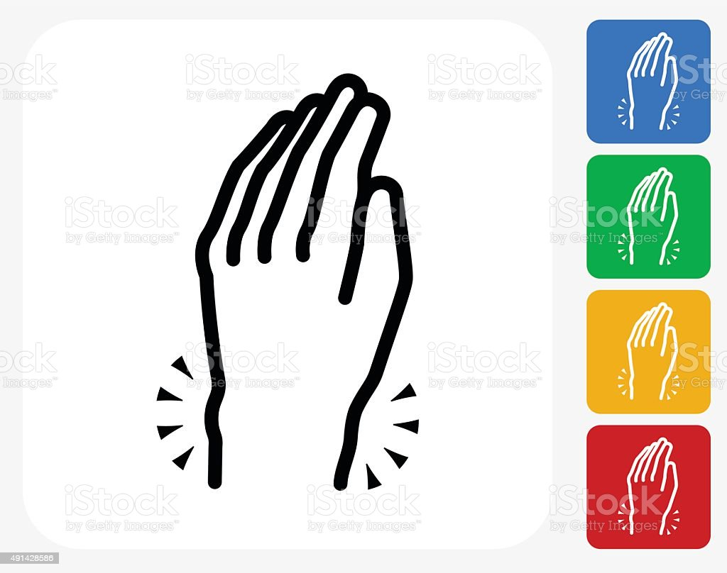 Hands Pain Icon Flat Graphic Design vector art illustration