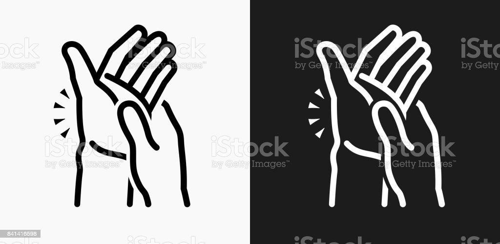 Hands Pain Icon on Black and White Vector Backgrounds vector art illustration