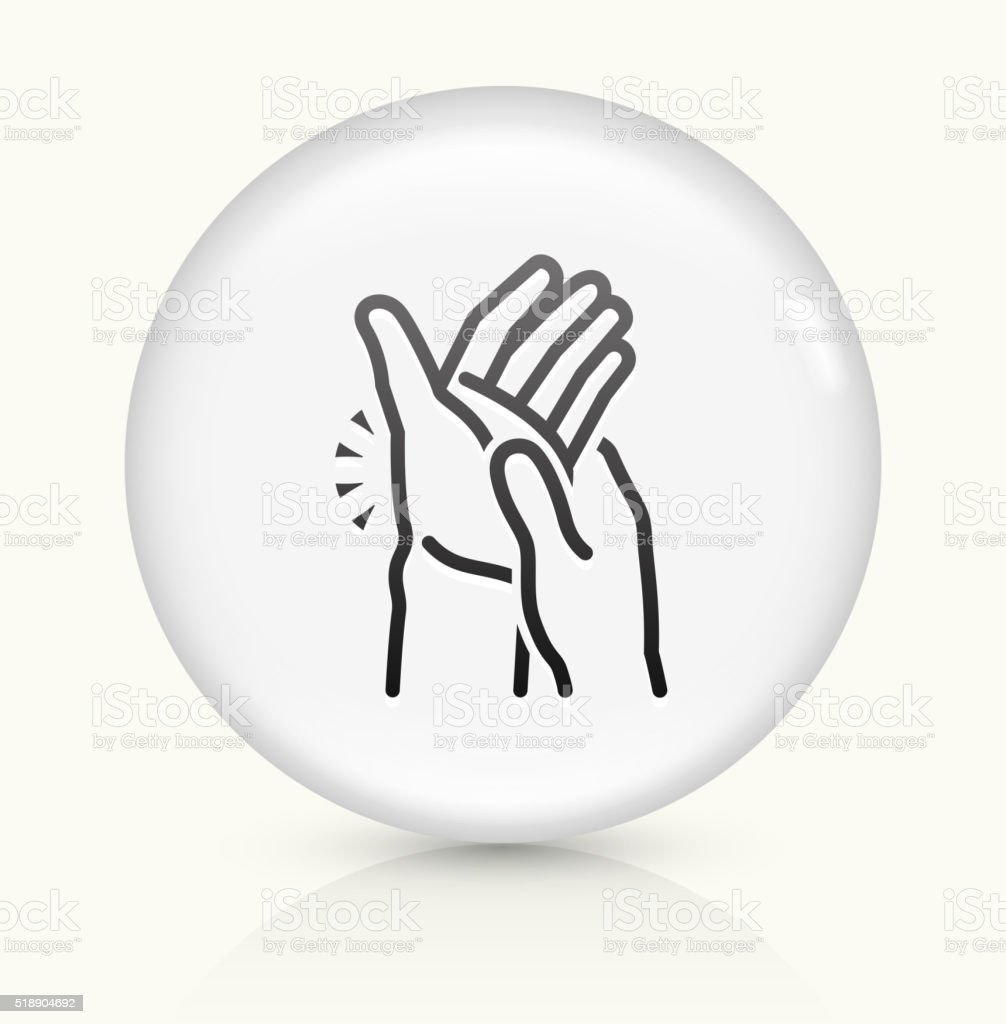 Hands Pain icon on white round vector button vector art illustration