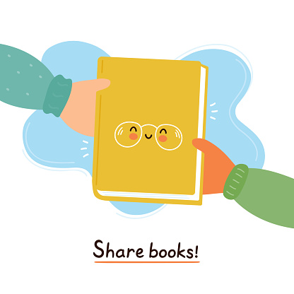 Hands pass cute smiling happy book