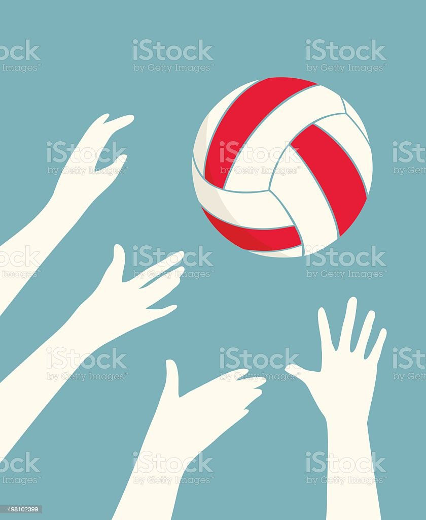 Hands Playing Volleyball vector art illustration