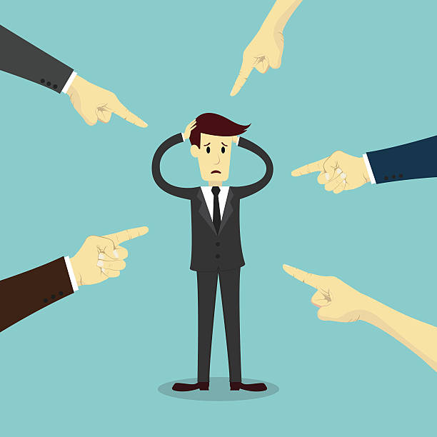 Hands pointing to blame businessman Hands pointing to blame businessman, business vector illustration. blame stock illustrations