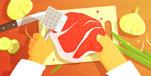 Hands Preparing Meat Colorful Illustration From Above