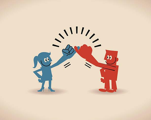 illustrazioni stock, clip art, cartoni animati e icone di tendenza di mani promesse, promesse associando reciprocamente po'le dita - mano donna dita unite
