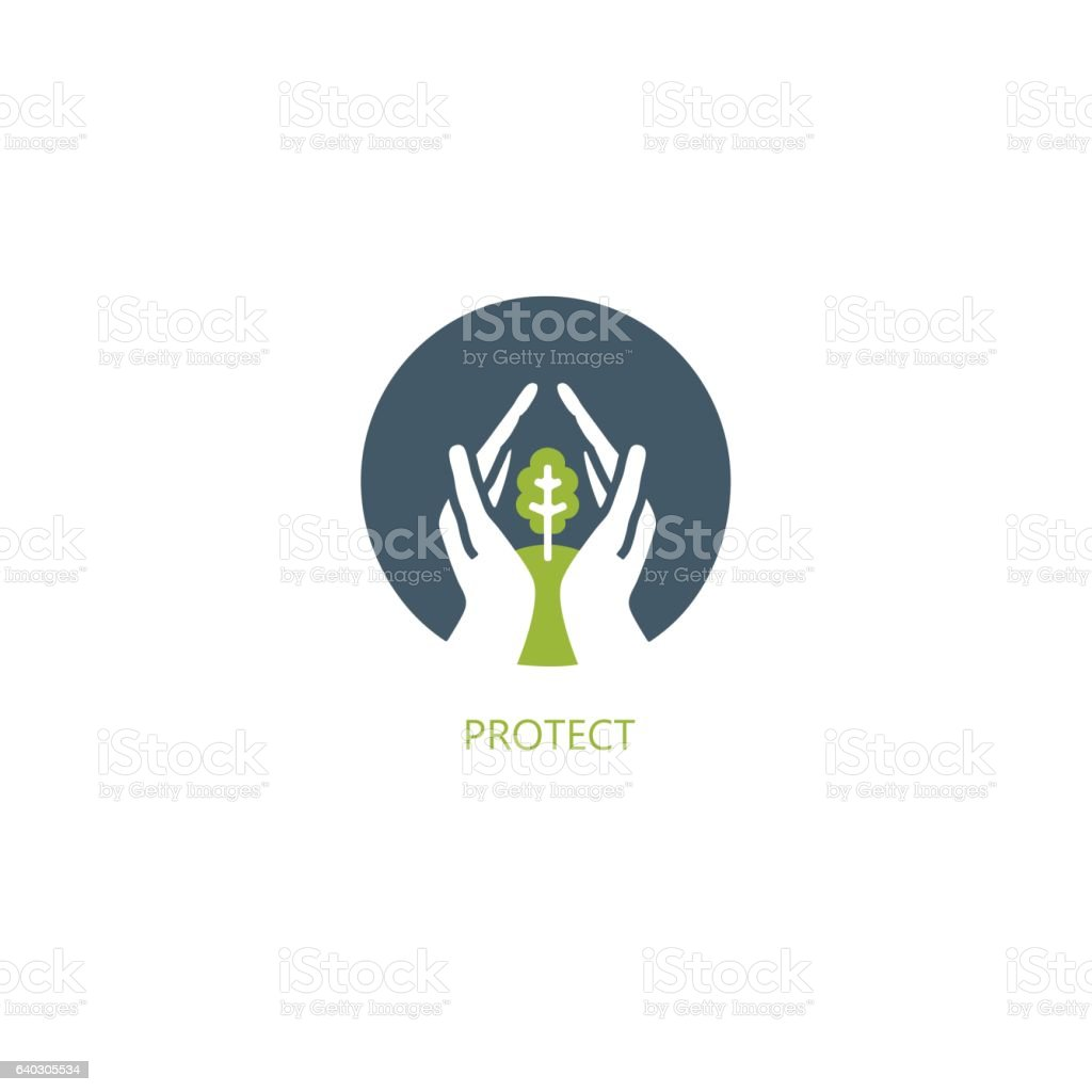 Hands protecting tree - abstract design element. vector art illustration