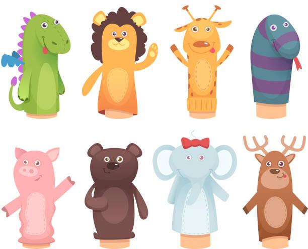 손 인형입니다. 재미 있는 어린이 게임 벡터 캐릭터 고립 된 아이 들을 위한 양말에서 장난감 - 퍼펫인형 stock illustrations