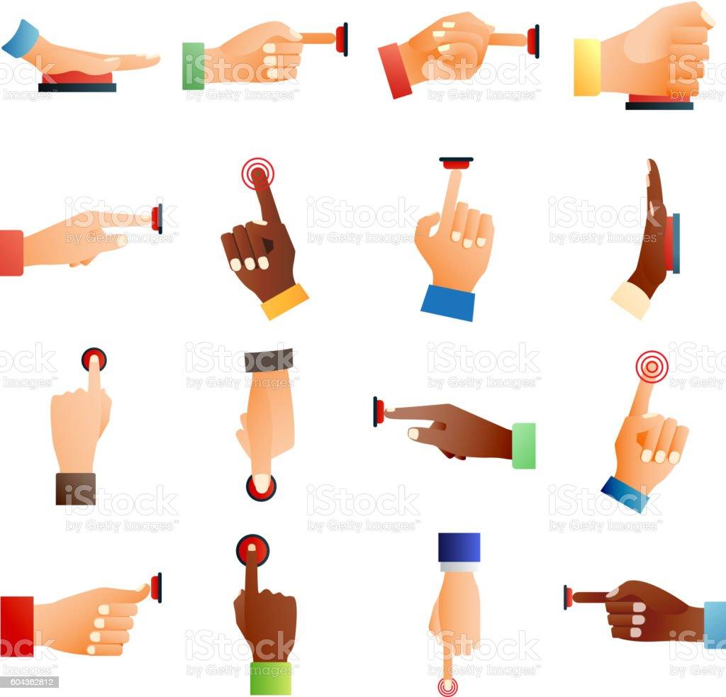 Hands push buttons vector set. vector art illustration