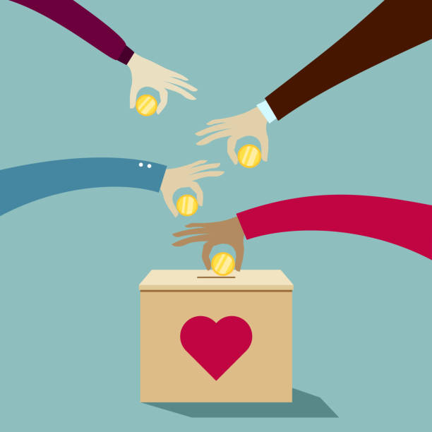Hands puting coins into donation box: Donate money charity concept Hands puting coins into donation box: Donate money charity concept charity stock illustrations
