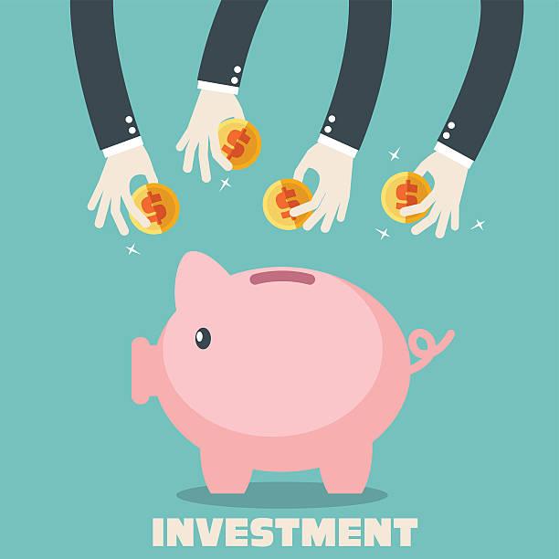 手をパッティングコインをピギー-銀行ます。預金と投資のコンセプト - 集める点のイラスト素材/クリップアート素材/マンガ素材/アイコン素材