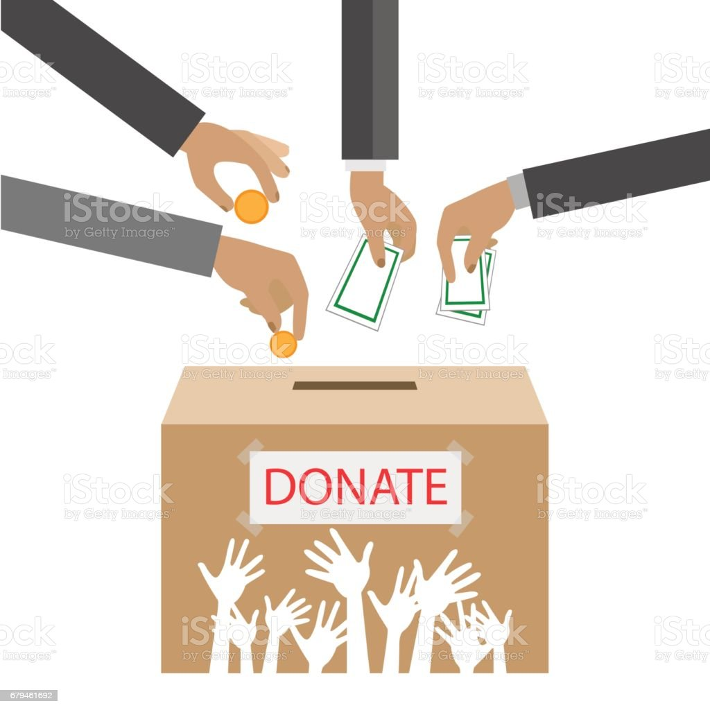 Hands putting gold coin and money in donation box. illustration in flat style royalty  sc 1 st  iStock & Hands Putting Gold Coin And Money In Donation Box Illustration In ... Aboutintivar.Com