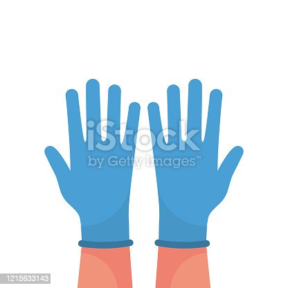 istock Hands putting on protective blue gloves vector 1215633143