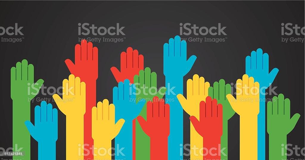Hands Raised Colored vector art illustration