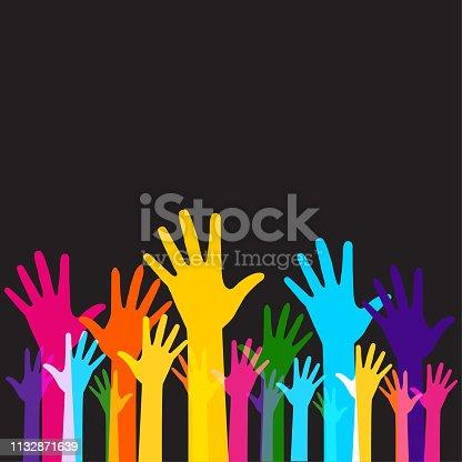 Hands raised high
