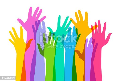 Colourful overlapping silhouettes of Hands raised. EPS10 file, best in RGB, CS5 versions in zip