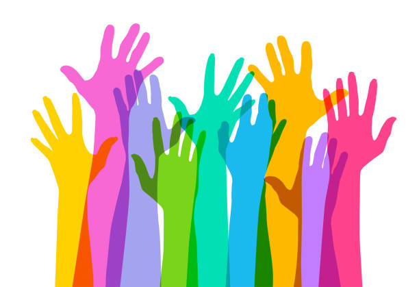 Hands raised High Colourful overlapping silhouettes of Hands raised. EPS10 file, best in RGB, CS5 versions in zip community silhouettes stock illustrations