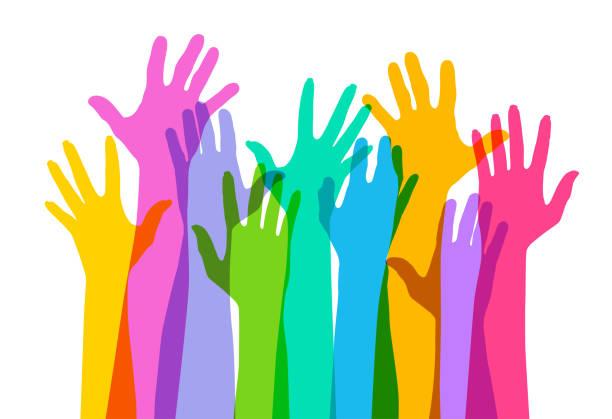 ilustraciones, imágenes clip art, dibujos animados e iconos de stock de manos de - reunión evento social