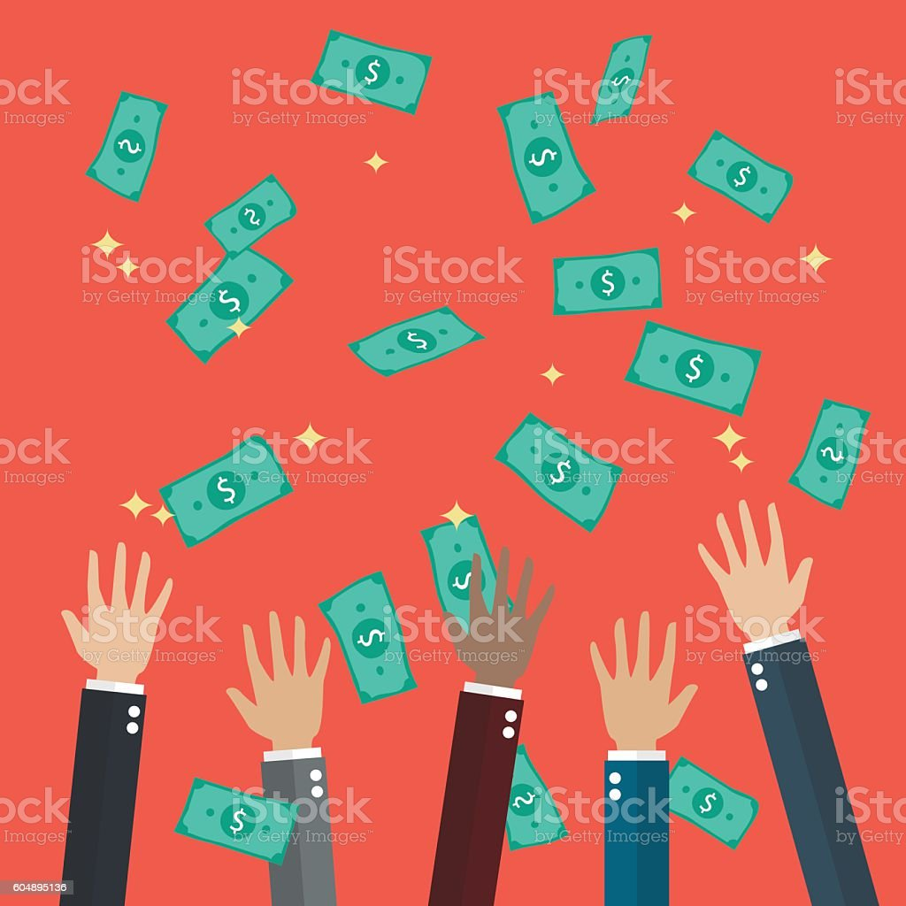 Hands raised throwing and catching money in the air vector art illustration