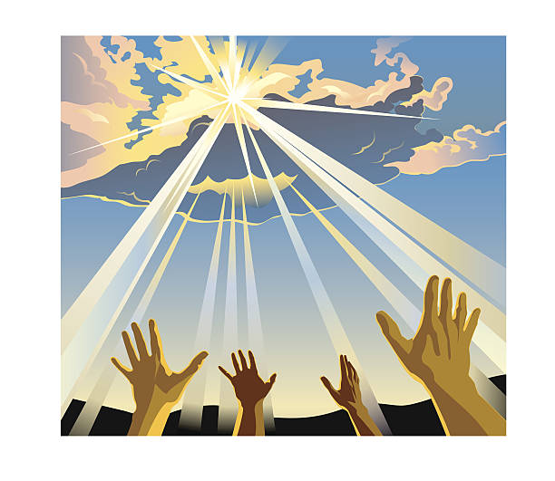 Hands raised to the sky in worship Illustration of hands raised to the heavens as the sun pierces through the clouds. religious celebration stock illustrations