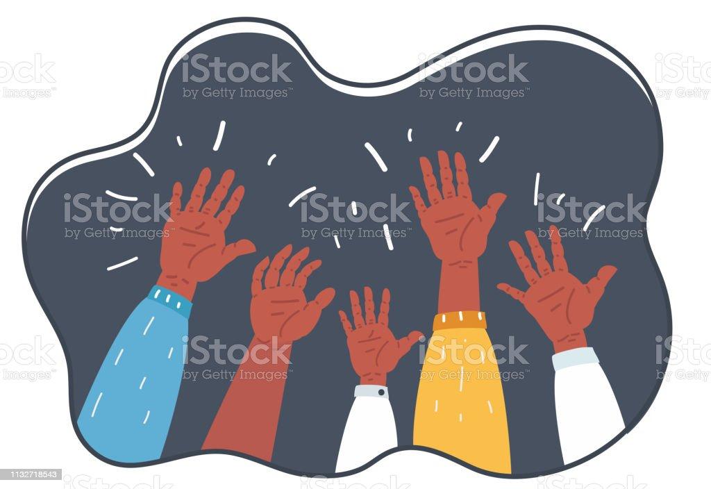Vector cartoon illustration of Hands Raised Up - Symbol of Freedom...