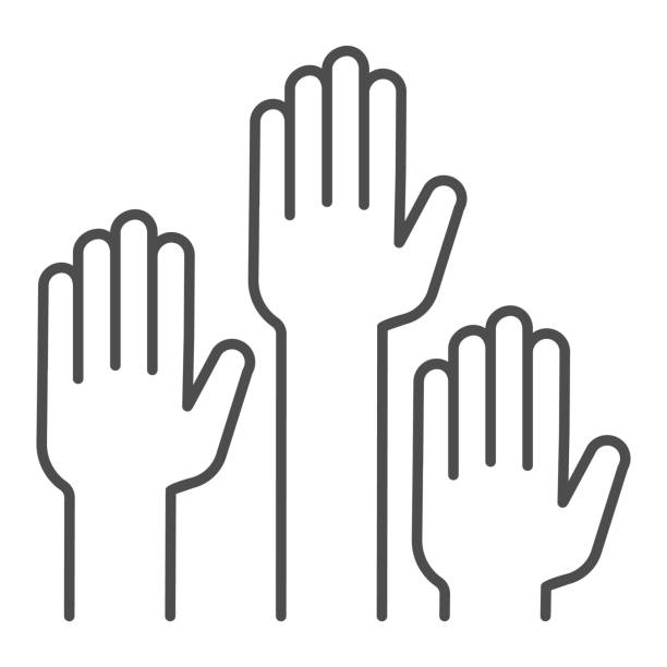 Hands raised up thin line icon, Education concept, raising up hands in air sign on white background, raised arms icon in outline style for mobile concept and web design. Vector graphics. Hands raised up thin line icon, Education concept, raising up hands in air sign on white background, raised arms icon in outline style for mobile concept and web design. Vector graphics human limb stock illustrations