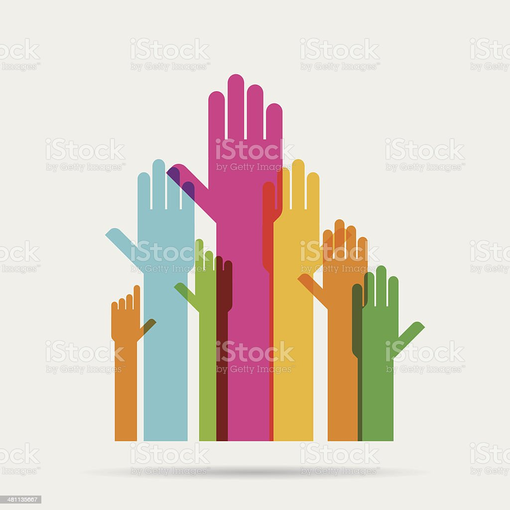 Hands raised vector art illustration