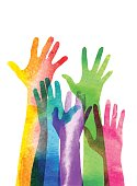 Overlapping silhouettes of Hands in a watercolour texture.