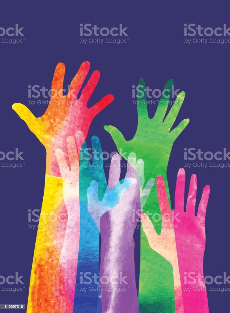 Hands raised vector art illustration