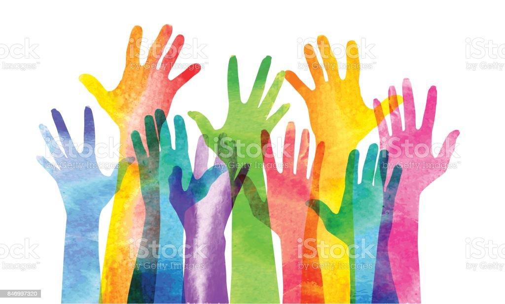 Mãos levantadas - ilustração de arte em vetor