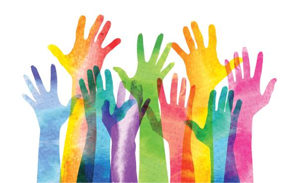 hands raised - diversity stock illustrations