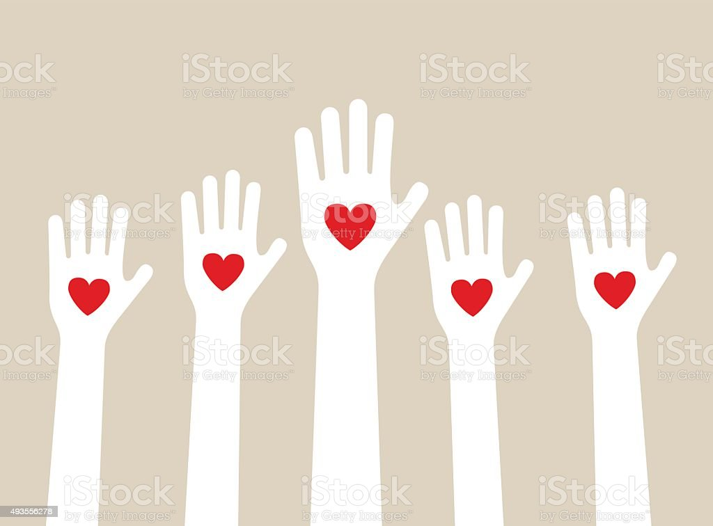 hands raising love vector art illustration
