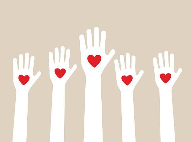 stockillustraties, clipart, cartoons en iconen met hands raising love - oppakken
