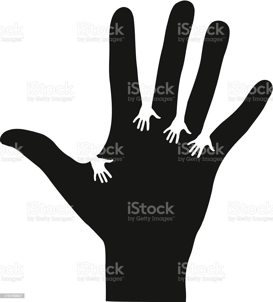 Hands reaching each other vector art illustration