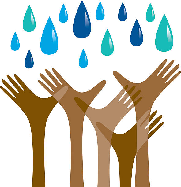 Hands reaching out for rain vector art illustration