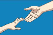 Hands reaching out to grasp one another for help