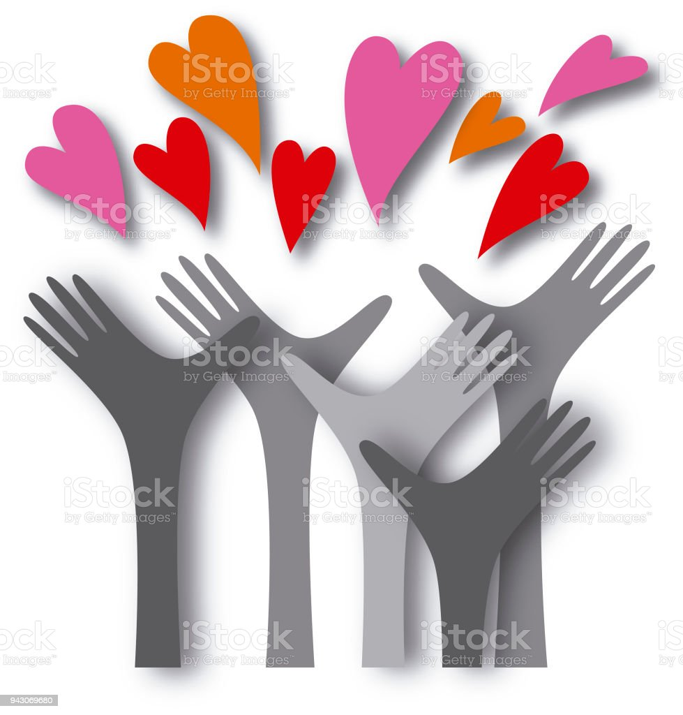 Hands reaching out to love vector art illustration